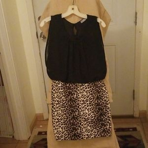 Black/leopard print dress with blousey top